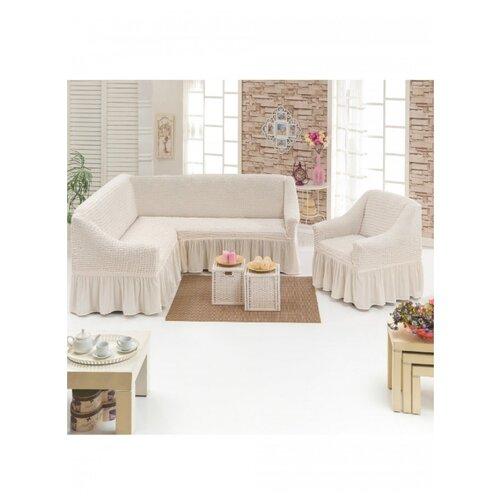 Чехлы на угловой диван и кресло, цвет: молочный