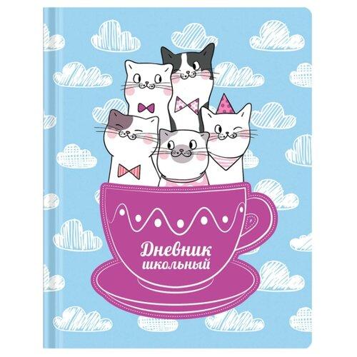 Купить Юнландия Дневник Котики 105474 голубой/белый, Дневники