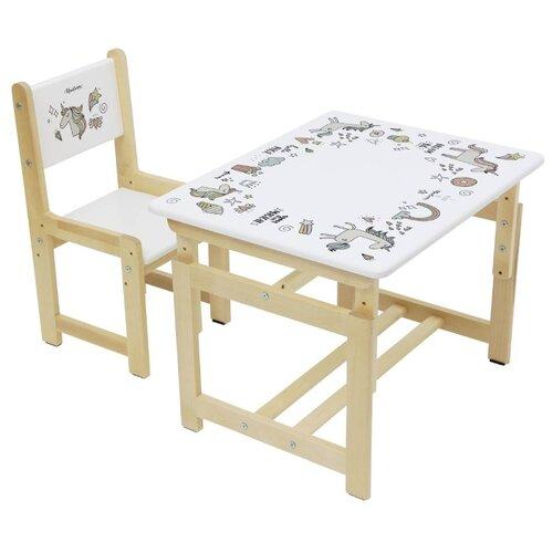 Купить Комплект Polini стул+стол Eco 400 SM Единорог 68x55 см белый/единорог, Парты и столы