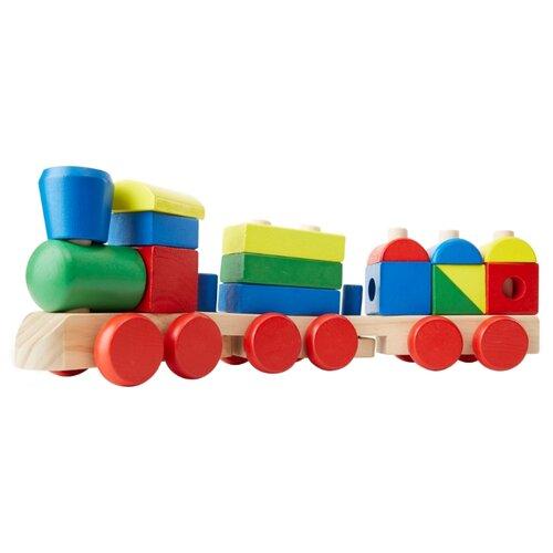 Каталка-игрушка Melissa & Doug Stacking Train (572) красный/зеленый/желтый/синий недорого