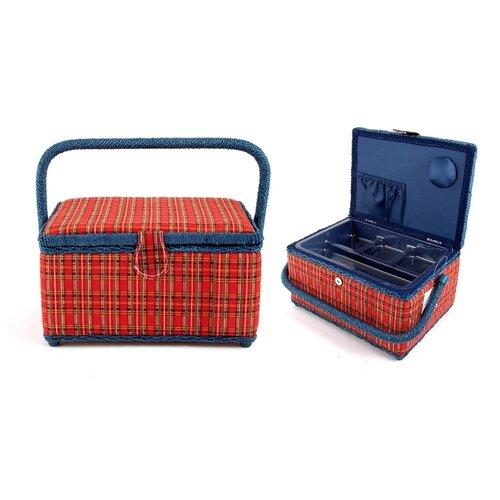 Шкатулка Русские подарки для рукоделия 26х19х15 см красный/синийШкатулки для рукоделия<br>