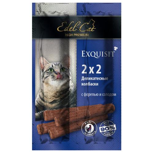 Фото - Лакомство для кошек Edel Cat Мини-колбаски Форель с солодом, 2г х 4шт. в уп. 8 г лакомство edel cat для кошек мини колбаски жевательные с говядиной и салями 4 шт