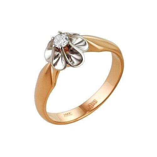 Мастер Бриллиант Кольцо Цветок с 1 бриллиантом из красного золота 1-104-217, размер 15.5 фото