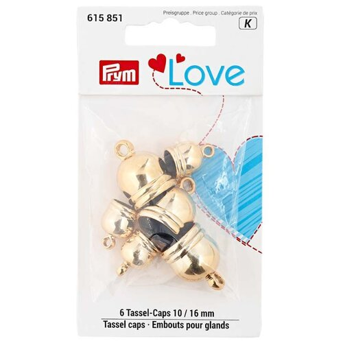 Набор концевиков для кистей Prym Love, пластик, золотой цв. 10мм и 16мм 6шт Prym