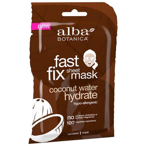 Alba Botanica Fast Fix Sheet Mask Coconut Water Hydrate Глубокоувлажняющая тканевая маска с водой кокосового ореха очищающее средство alba botanica