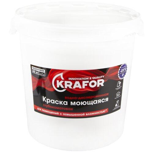 Краска акриловая Krafor Интерьерная глубокоматовая моющаяся матовая белый 40 кг