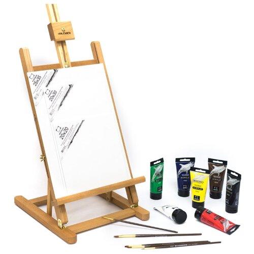 Купить Мольберт Малевичъ МЛ-57 в стартовом наборе для живописи акрилом (830208) коричневый, Доски и мольберты