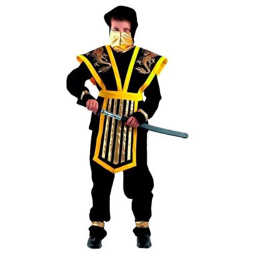 Купить Костюм Батик Мастер Ниндзя (921/922), черный/желтый, размер 140, Карнавальные костюмы