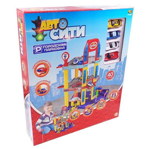 Купить ABtoys Авто Сити: Городская парковка PT-01019 красный/желтый/синий/серый, Детские парковки и гаражи
