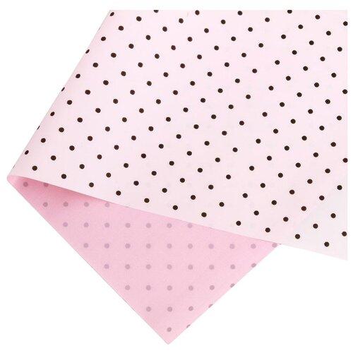 """Бумага упаковочная Дарите счастье """"Горох и нежная роза"""" 0,68 х 8 м розовый/ белый"""