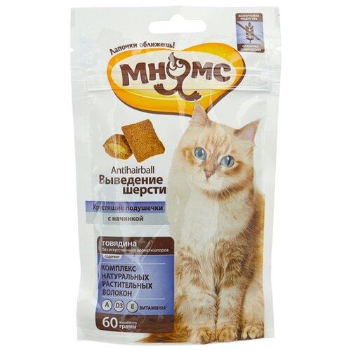 Лакомство для кошек Мнямс Хрустящие подушечки Выведение шерсти, 60г
