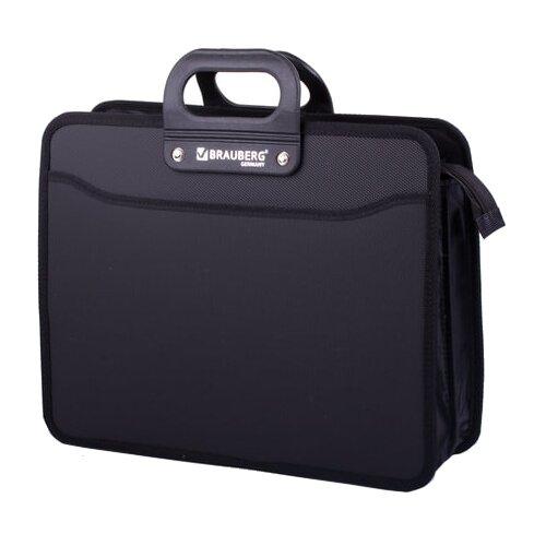 Купить BRAUBERG Портфель пластиковый на молнии Премьер А4, 3 отделения черный, Файлы и папки