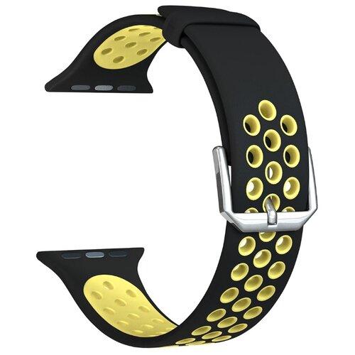 Фото - Lyambda Силиконовый ремешок Alioth для Apple Watch 42/44 mm black/yellow lyambda силиконовый ремешок alcor для apple watch 42 44 mm green