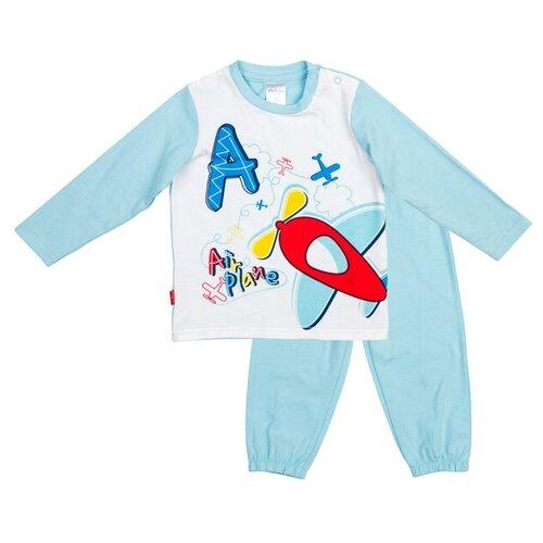 Пижама playToday размер 80, белый/голубой