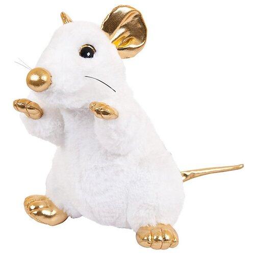 Мягкая игрушка ABtoys Крыса белая с золотыми лапками 24 см