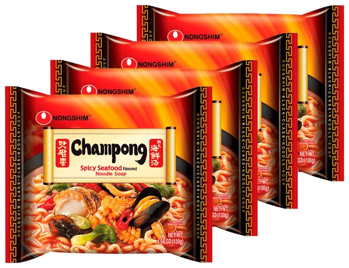 Купить Лапша быстрого приготовления Чампонг с морепродуктами Nongshim, пачка 130 г х 4 шт по низкой цене с доставкой из Яндекс.Маркета