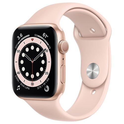 Умные часы Apple Watch Series 6 GPS 44мм Aluminum Case with Sport Band, золотистый/розовый песок часы apple watch series 5 gps 44mm aluminum case with sport band золотистый розовый песок