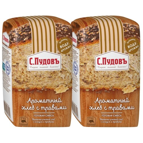 С.Пудовъ Смесь для выпечки хлеба Ароматный хлеб с травами (2 шт.), 0.5 кг