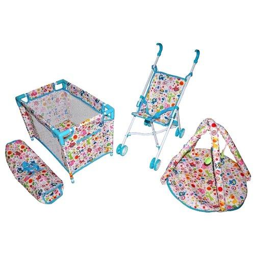 Купить Прогулочная коляска Mary Poppins Фантазия набор 3 в 1 (67320) белый/голубой/розовый, Коляски для кукол
