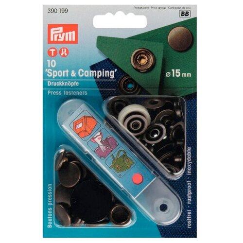 Prym Кнопки непришивные Спорт и кемпинг (390199, 390200, 390201), состаренная латунь, 15 мм, 10 шт.