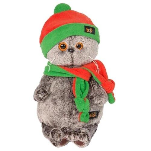 Мягкая игрушка Basik&Co Кот Басик в оранжево-зеленой шапке и шарфике 30 см