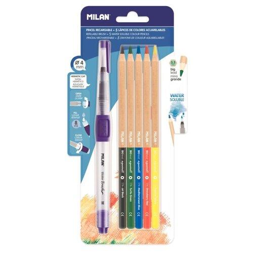 Купить MILAN Карандаши цветные акварельные 5 цветов с кистью с резервуаром (BWM10401), Цветные карандаши