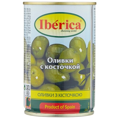 Iberica Оливки с косточкой в рассоле, жестяная банка 300 г iberica маслины мини с косточкой в рассоле жестяная банка 300 г