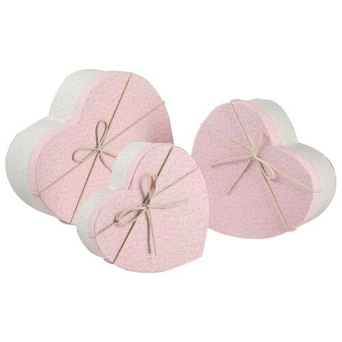 Набор подарочных коробок Yiwu Zhousima Crafts Сердца, 3 шт розовый