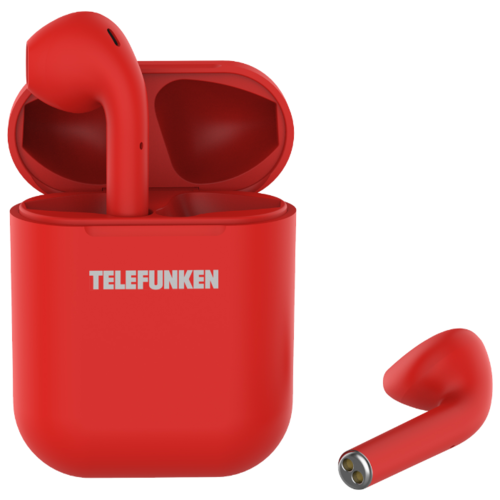 Беспроводные наушники TELEFUNKEN TF-1001B red радиомагнитола cd telefunken tf csrp3494b red