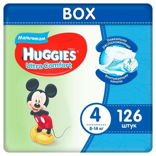 Купить Huggies подгузники Ultra Comfort для мальчиков 4 (8-14 кг), 126 шт., Подгузники