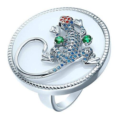 цена на JV Кольцо с агатами и фианитами из серебра KR0278-KO-AG-001-WG, размер 18