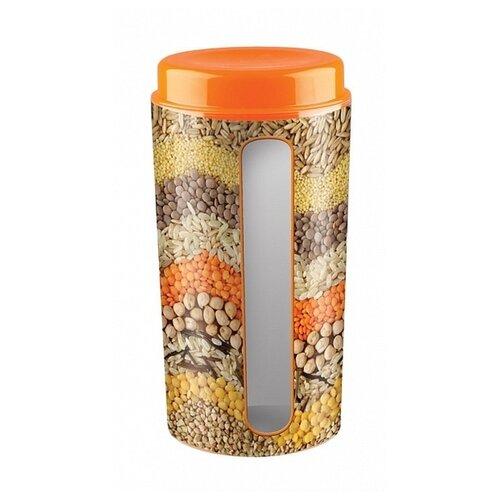 Phibo Ёмкость для сыпучих продуктов с декором Deluxe (1.7 л) оранжевый/бежевый