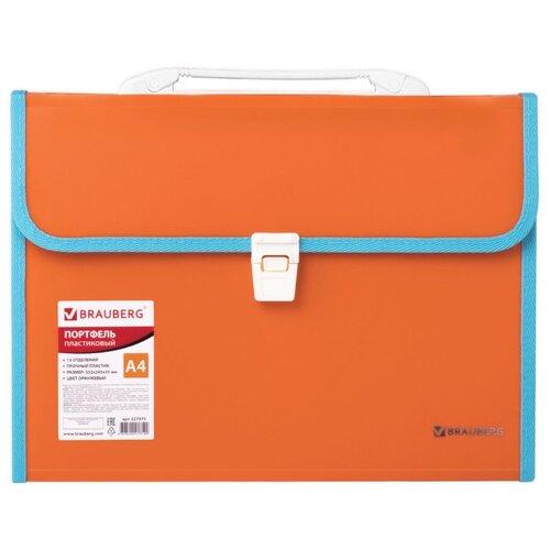 Купить BRAUBERG Портфель пластиковый Joy А4, 13 отделений оранжевый, Файлы и папки
