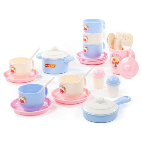 Купить Набор посуды Полесье Набор детской посуды Хозяюшка на 6 персон (V5) 80165 голубой/бежевый/розовый, Игрушечная еда и посуда