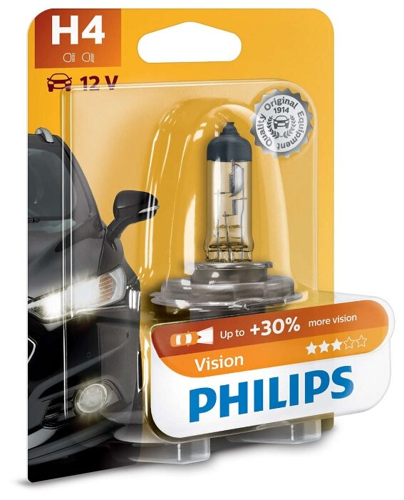 Лампа автомобильная галогенная Philips Vision 12342PRB1 H4 60/55W 1 шт. — купить по выгодной цене на Яндекс.Маркете