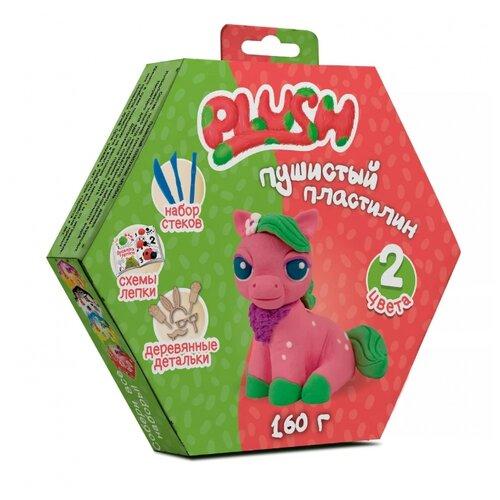 Пластилин PLUSH Пушистый розовый + зеленый 160 г (PL02201806)