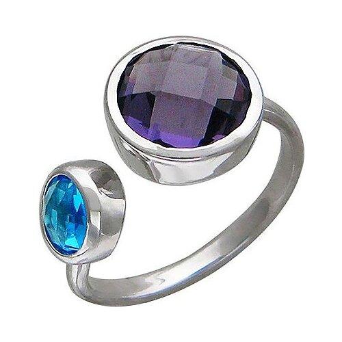Эстет Кольцо безразмерное с сапфировыми стеклом из серебра 01К258033, размер 17.5