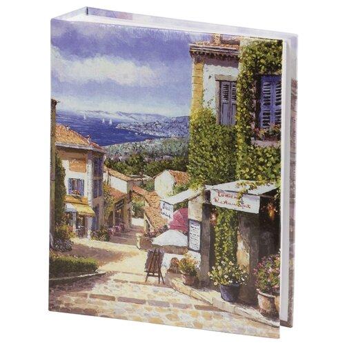 цена на Фотоальбом BRAUBERG Улица Прованса (391120), 200 фото, для формата 10 х 15, бежевый/голубой/зеленый