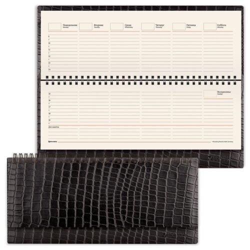 Купить Планинг BRAUBERG Alligator недатированный, искусственная кожа, 60 листов, черный, Ежедневники, записные книжки