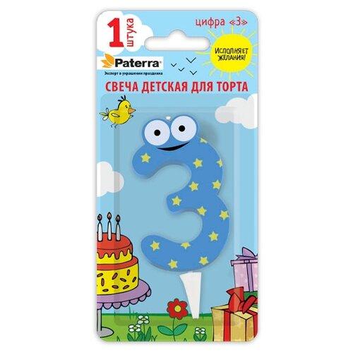Paterra Свеча для торта Детская, цирфа 3 голубой/желтый