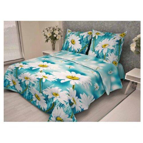 Постельное белье евростандарт Диана-Текс Ромашка 23 (513-1) 50х70 см, бязь голубой/белый