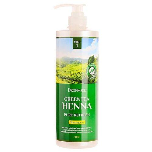 Deoproce Шампунь для волос Green Tea Henna Pure Refresh Shampoo 1000 мл с дозатором