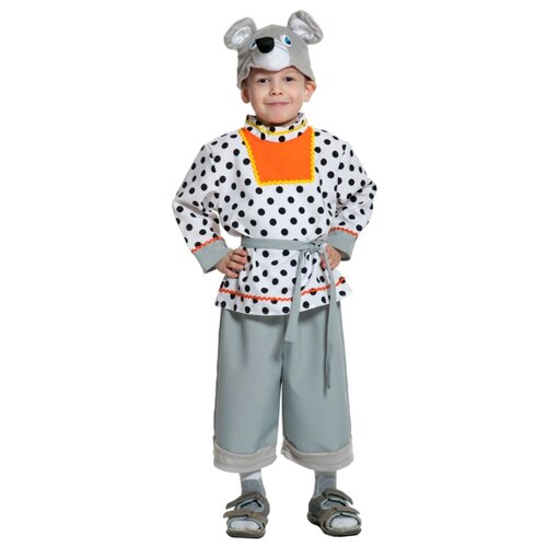 Купить Костюм КарнавалOFF Мышонок Шуршонок (8032), серый/белый, размер 92-110, Карнавальные костюмы