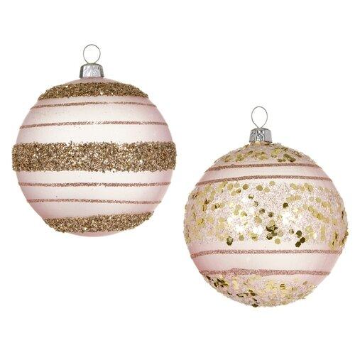 Набор елочных шаров SNOWMEN Карамель Е96716, пудра, 8 см, 2 шт.