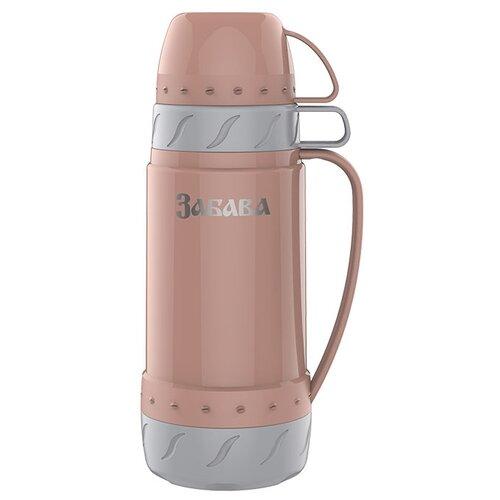 Классический термос Забава РК-1002, 1 л персиковый/серый