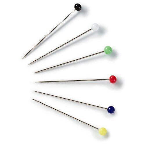 Купить Набор булавок Prym 029139 со стеклянной головкой, 0, 60 x 30мм, серебристый/разноцветный, 40 шт., Иглы