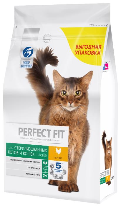 Корм для стерилизованных кошек Perfect Fit для профилактики МКБ, с курицей