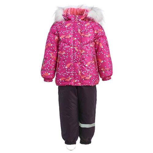 Купить Комплект с полукомбинезоном KISU размер 92, фуксия/темно-фиолетовый, Комплекты верхней одежды