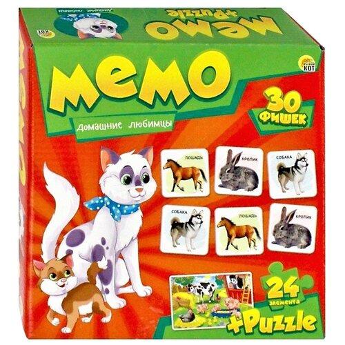 Купить Настольная игра Рыжий кот Мемо+пазлы Домашние любимцы МП-0366, Настольные игры