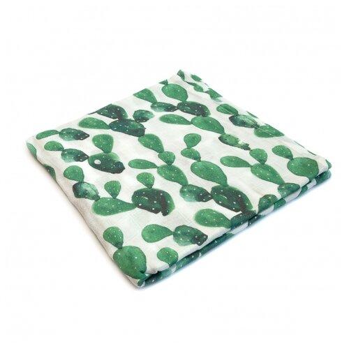Купить Многоразовые пеленки MamSi бамбуковый муслин 120х120 кактусы, Пеленки, клеенки